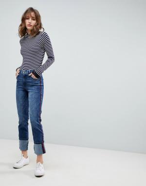 Esprit Прямые джинсы с контрастными полосками. Цвет: синий