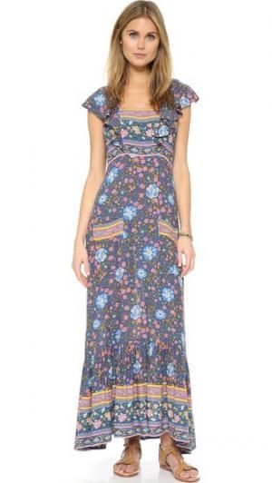 Платье Folk Town с оборками SPELL. Цвет: темно-синий