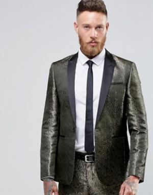 ASOS Приталенный пиджак с золотистым узором. Цвет: золотой