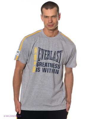 Футболка Fashion Crew Neck Everlast. Цвет: серый меланж, желтый, темно-синий