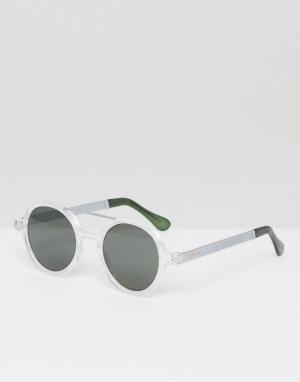 Komono Круглые солнцезащитные очки с двойной переносицей Vivien Metal. Цвет: прозрачный