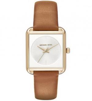 Часы квадратной формы с кожаным ремешком Michael Kors