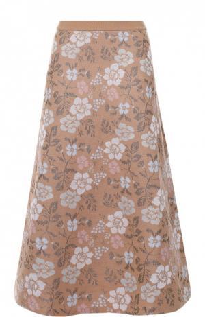 Юбка-миди А-силуэта с цветочным принтом Tak.Ori. Цвет: бежевый