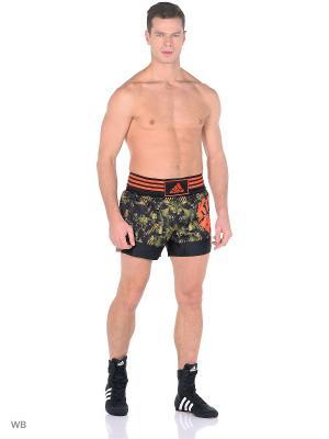 Шорты для кикбоксинга Kick Boxing Short Sublimated Adidas. Цвет: черный, темно-коричневый