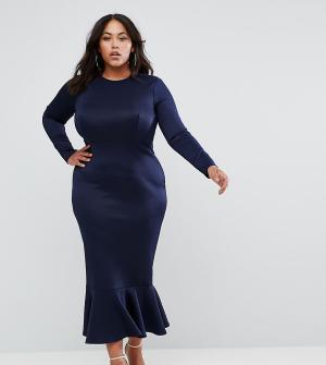 Club L Облегающее платье миди с длинными рукавами и оборкой Plus. Цвет: темно-синий