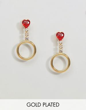Gogo Philip Золотистые серьги-кольца с камнями. Цвет: золотой