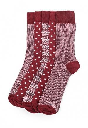 Комплект носков 5 пар Topman. Цвет: бордовый