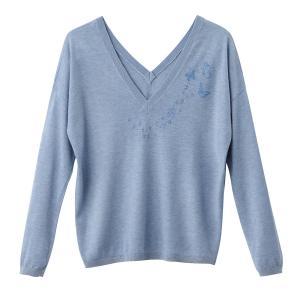 Пуловер из тонкого трикотажа с разрезом на круглом вырезе SUD EXPRESS. Цвет: синий