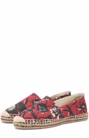 Текстильные эспадрильи с цветочным принтом Isabel Marant Etoile. Цвет: бордовый