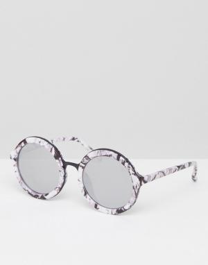 Skinnydip Круглые солнцезащитные очки с мраморным принтом. Цвет: мульти