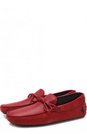 Замшевые мокасины с кожаной отделкой Tod's. Цвет: красный