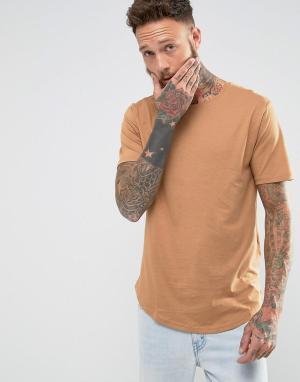 Troy Длинная футболка. Цвет: рыжий
