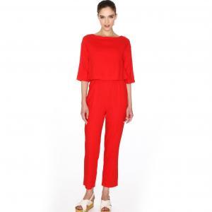 Комбинезон с прямыми брюками PEPALOVES. Цвет: красный