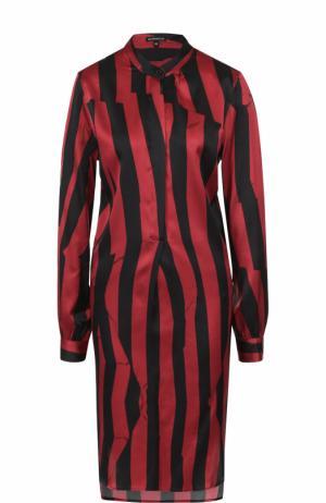 Шелковое платье-рубашка в полоску Ann Demeulemeester. Цвет: бордовый