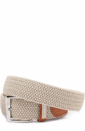 Плетеный текстильный ремень с отделкой из натуральной кожи Paul&Shark. Цвет: бежевый