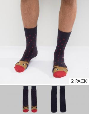 Totes Две пары носков с новогодним рисунком Original. Цвет: красный