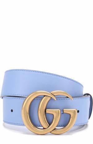 Кожаный ремень с логотипом бренда на пряжке Gucci. Цвет: голубой