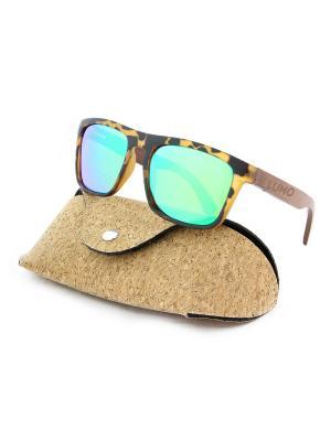 Модные солнцезащитные очки Lumo. Цвет: зеленый