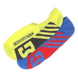Носки низкие DC 2pk Sneakers Sole Socks Neon Shoes. Цвет: желтый,синий,красный,черный
