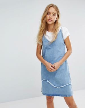 MiH Jeans Джинсовое платье с бретелями необработанной отделкой M.i.h. Цвет: синий