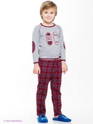 Пижама для мальчика Lucky Child. Цвет: бордовый, серый меланж