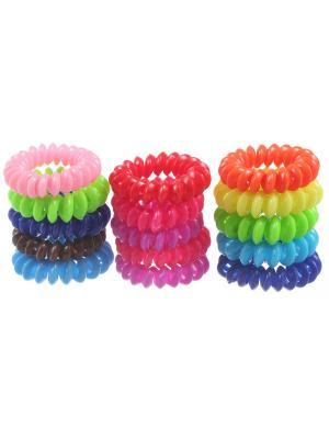 Резинки - спиральки для волос глянцевые, диаметр 3 см, набор 15 шт. Радужки. Цвет: синий,зеленый,красный