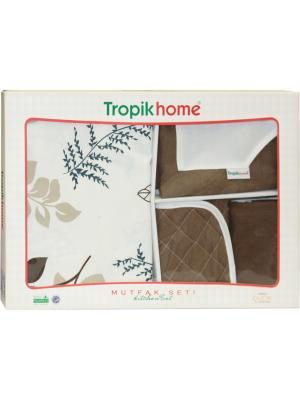 Кухонный набор  ЛЮКС 4 пр: скатерть 130х170 см, фартук, рукавичка, прихватка Dorothy's Нome. Цвет: коричневый