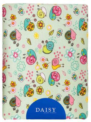 Пеленка Трикотаж тепл.100х120 Улитки DAISY. Цвет: бирюзовый, светло-зеленый, лиловый, желтый, белый