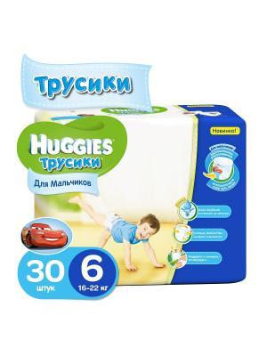 Подгузники-трусики Размер 6 16-22кг 30шт для мальчиков HUGGIES. Цвет: голубой, синий