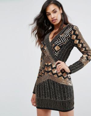 Starlet Платье мини с запахом и длинными рукавами. Цвет: черный