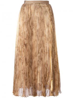 Плиссированная юбка миди Oscar de la Renta. Цвет: телесный
