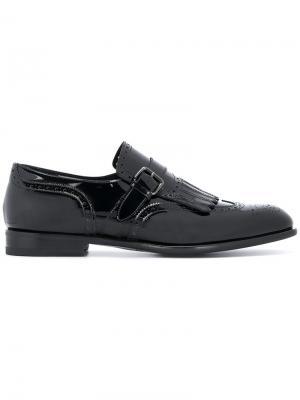 Туфли-монки с простроченной отделкой Santoni. Цвет: чёрный