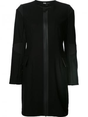 Пальто с контрастной окантовкой Y-3. Цвет: чёрный