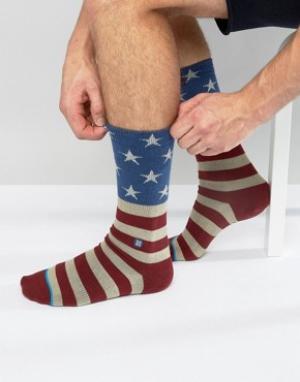 Stance Красные носки с американским флагом Strance Fourth. Цвет: красный