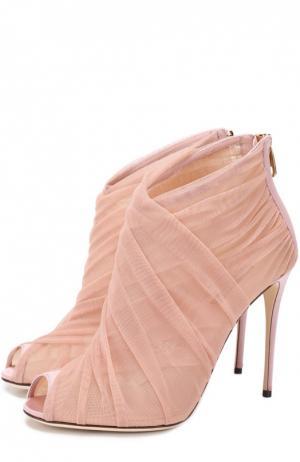 Ботильоны из полупрозрачного текстиля на шпильке Dolce & Gabbana. Цвет: светло-розовый
