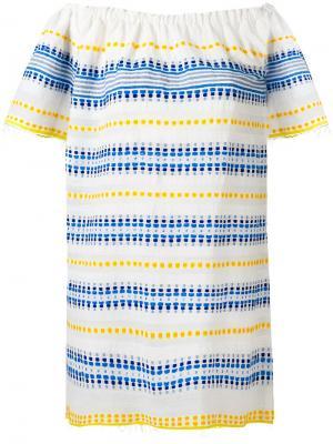 Полосатое платье с открытыми плечами Lemlem. Цвет: белый