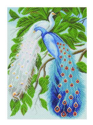 Рисунок на канве Павлины Матренин Посад. Цвет: белый, бирюзовый, зеленый, синий
