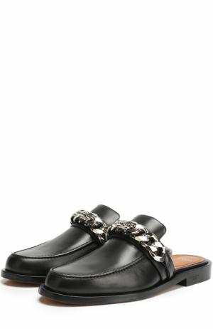 Кожаные сабо с декоративной цепью Givenchy. Цвет: черный