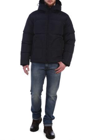Полуприлегающая куртка с капюшоном XASKA. Цвет: темно-синий