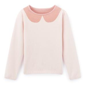 Пуловер с эффектом отложного воротника 3-12 лет La Redoute Collections. Цвет: розовый пастельный