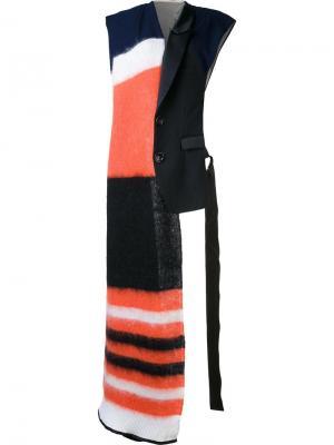 Массивный полосатый шарф Undercover. Цвет: чёрный
