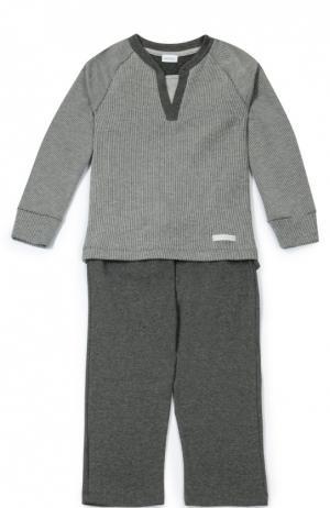 Хлопковая пижама в мелкую полоску Grigioperla. Цвет: серый