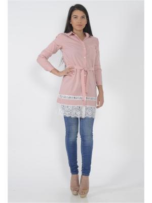 Блузка FOR YOU. Цвет: бледно-розовый