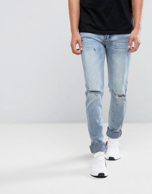 Sixth June Голубые джинсы скинни. Цвет: синий