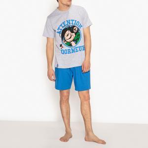 Пижама с шортами из хлопка рисунком Gaston Lagaffe. Цвет: серый меланж + синий