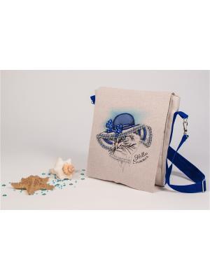 Набор для шитья и вышивания текстильная сумка-планшет Марина у моря Матренин Посад. Цвет: серый, бежевый, синий
