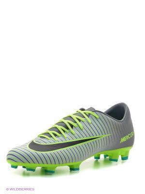 Бутсы MERCURIAL VICTORY VI FG Nike. Цвет: салатовый, серый, черный