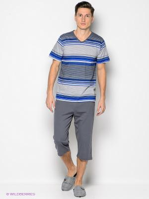 Комплект одежды Vienetta Secret. Цвет: синий, темно-серый