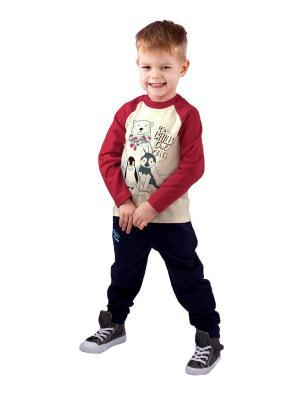 Джемпер, брюки Апрель. Цвет: молочный, красный, темно-синий