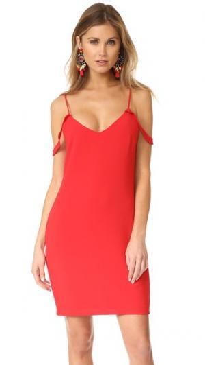 Платье Luna с открытыми плечами WAYF. Цвет: красный